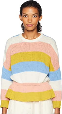 Carded Striped Wool Yarn and Macro Cross Stitch Blossoms Embroidery Sweater