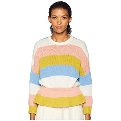 RED VALENTINO Carded Striped Wool Yarn and Macro Cross Stitch Blossoms Embroidery Sweater (Ivory) Women