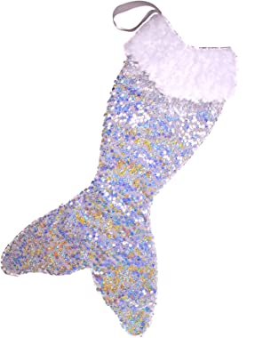 """I Believe in Mermaids Mermaid Tail Christmas Stocking - Shell Silverstein - Silver Sequin - 22"""" Long 11"""" Wide. Lined"""