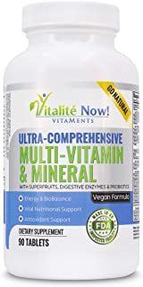 Sponsored Ad - Vegan Whole Food Multivitamin & Mineral - Vitamins A B1 B2 B6 B12 C D3 E & 110 Super Foods, Herbs, Greens &...