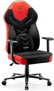 Diablo X-Gamer 2.0 Silla Gaming Gamer de Oficina Tela Diseño Ergonómico Cojín Lumbar Apoyabrazos Cómodos (Negro-Rojo)