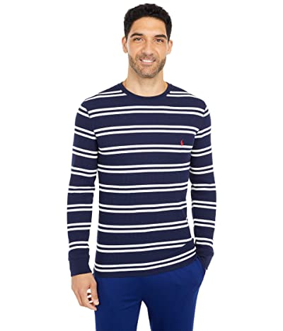 Polo Ralph Lauren Midweight Waffle Stripe Long Sleeve Crew (Cruise Navy/Nevis Stripe/RL2000 Red Pony Player) Men