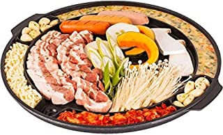 Eutuxia Master Grill Pan for Korean BBQ, Cast Iron Stovetop Nonstick Smokeless Scratch-Resistant, Perfect for Grilling Vegetable Egg Pork Beef Meat Garlic Cheese Kimchi & More, Made in Korea, 15 inch