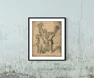Bay of Narraganset with The Islands therein|1777 American Revolution Millitary Map Shows Defenses|Rhode Island|Nautical Charts|