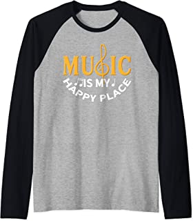 Music Is My Happy Place Funny Music Teacher Student Lessons Raglan Baseball Tee