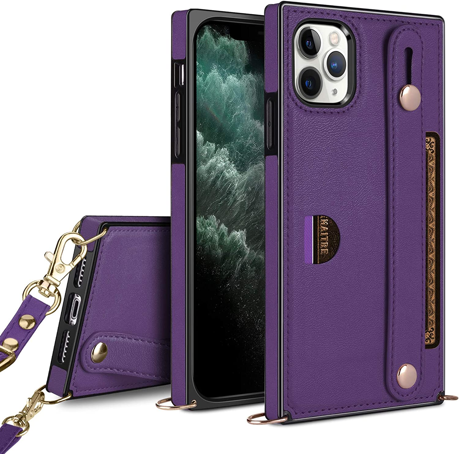 HianDier Compatible with iPhone 11 Po Max 6.5-Inch Wallet Case Slim Protective Case with Hand Strap Holder Kickstand Lanyard Credit Card Slot Soft PU Leather Square Cover, Purple