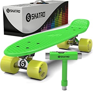 Skatro Mini Cruiser Skateboard. 22x6inch Retro Style Plastic Board Comes Complete (Renewed)