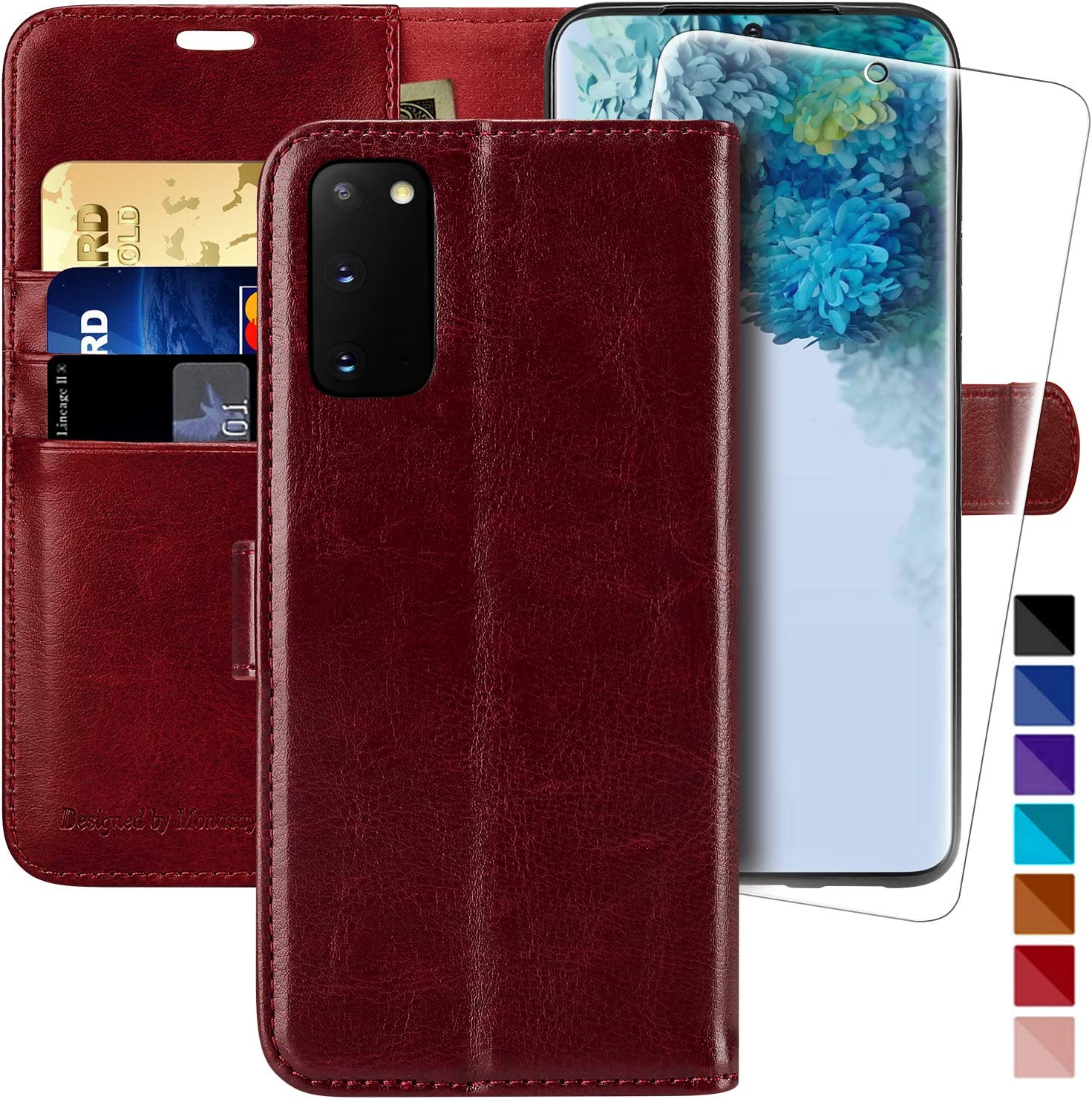 Galaxy S20 FE 5G Wallet Case,6.5 inch,MONASAY[Included Glass Screen Protector] Flip Folio Leather Cell Phone Cover with Credit Card Holder for Samsung Galaxy S20 FE 5G
