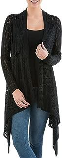 Black Alpaca Wool Blend Sidetail Cardigan Sweater, Mirage'