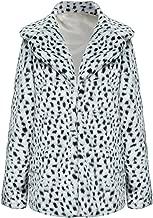 Choies Women Elegant Vintage Leopard Print Lapel Faux Fur Coat Fall Winter Outwear