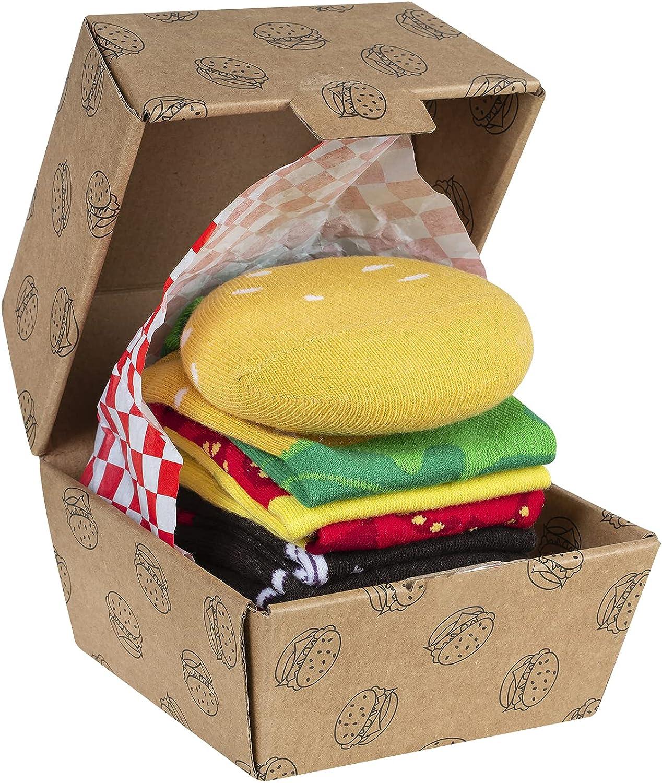 soxo Hamburger Calcetines en un paquete | 35-45 EU | calcetines de algodón alegres divertidos largos| idea para regalo empaquetado