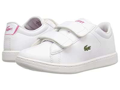 Lacoste Kids Carnaby Evo HL (Toddler/Little Kid) (White/Pink) Kids Shoes