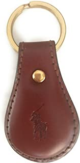 Polo Ralph Lauren Leather Key Fob Keychain Key Ring Embossed With Polo Emblem, Brown