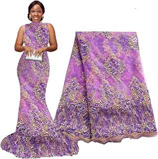 5 Yards African Lace Fabrics Nigerian French Beaded Tulle Fabric (purple)