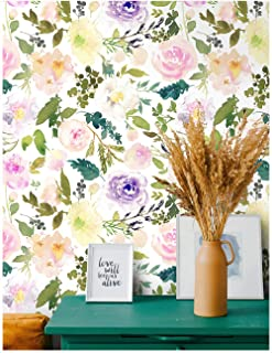 HaokHome 93020 Floral Contact Paper Peel and Stick Wallpaper Peony Removable Multi-Color Vinyl Self Adhesive Decorative 17.7