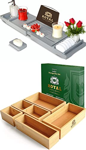 popular Luxury Bathtub Caddy Tray lowest new arrival (Gray) and Storage Box Set of 5 outlet online sale