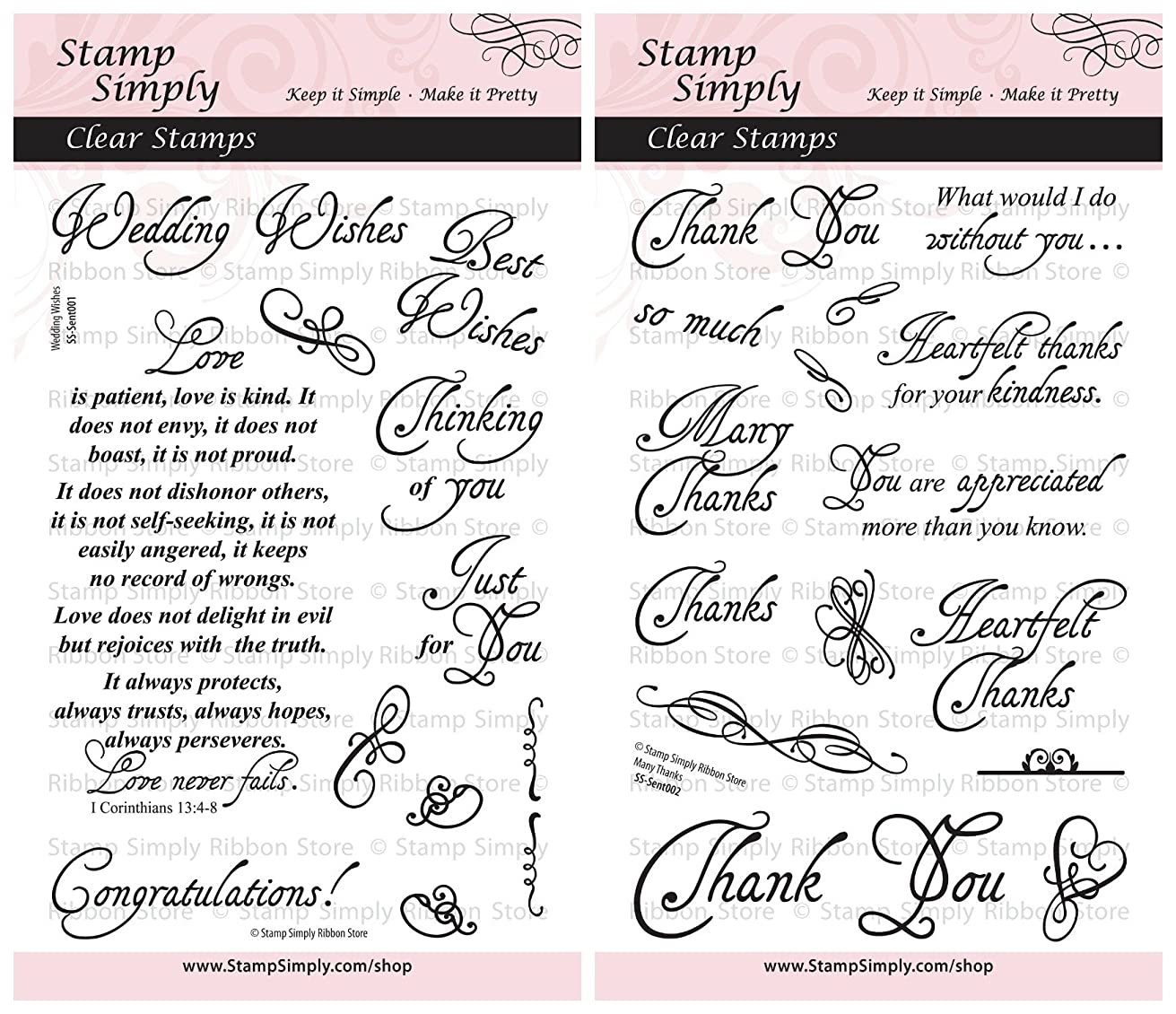 Stamp Simply Clear Stamps Wedding Wishes and Many Thanks Christian Religious (2-Pack) 4x6 Inch Sheets - 27 Pieces