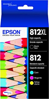 Epson DURABrite Ultra T812 High Capacity Black and Standard Capacity Color Combo Cartridge Ink (T812XL-BCS), Black and Col...