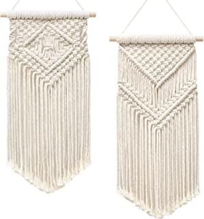 """Dahey 2 Pcs Macrame Wall Hanging Small Woven Tapestry Wall Art Decor - Beautiful for Boho Home Decor, Apartment, Nursery, Party Decorations, 16.5"""" L x 10"""" W and 17.5""""x 10""""W"""