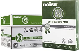 "$22 » Boise Paper X-9 Multi-Use Copy Paper, 8.5"" x 11"" Letter, 92 Bright White, 20 lb, 5 Ream Carton (2,500 Sheets)"