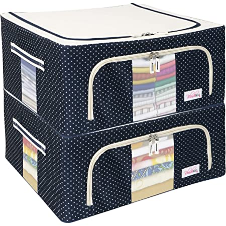 BlushBees Living Box - Closet Organizer Cloth Storage Boxes for Wardrobe - 44 Litre, Pack of 2, Polka Dot Blue(Oxford Fabric)
