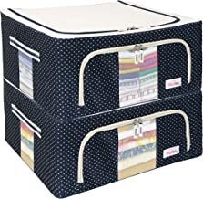 BlushBees® Living Box - Closet Organizer Cloth Storage Boxes for Wardrobe - 44 Litre, Pack of 2, Polka Dot Blue