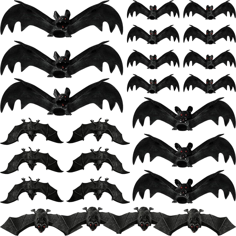 MGparty Halloween Hanging Bats 24 Pcs Realistic Scary Plastic Bats for Halloween Outdoor Indoor Yard Home Window Door Wall Decorations Halloween Party Decorations with 5 Size