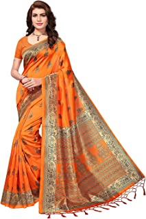 Women's Art silk with blouse piece Saree (Free Size)