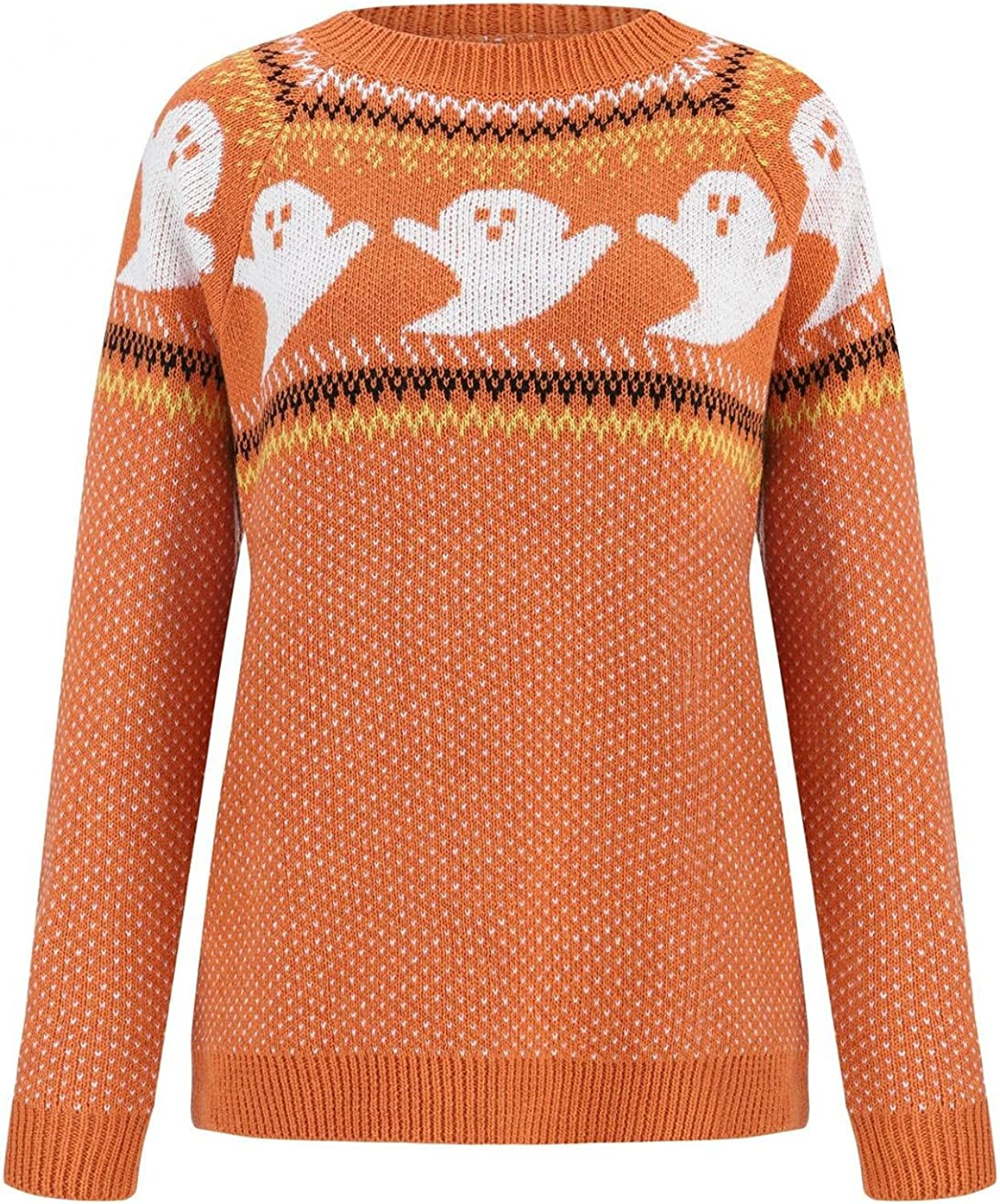 Wisgofre Women's Ugly Sweater Halloween Cute Ghost Graphic Sweatshirt Pullover Loose Knitted Long Sleeve Y2K Tops