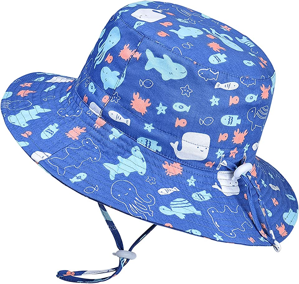 Baby Toddler Sun Hat - UPF 50+ Breathable 100% Cotton Kids Bucket Hat with Adjustable Chin Strap & Wide Brim Sun Protection Summer Hat for Boys Girls Aged 1-2 | 2-4 | 4-6