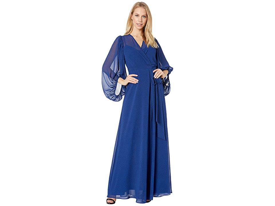 b7ea134aa Halston Heritage Printed Blouson Sleeve V-Neck Wrap Gown (Navy Pixel Dot  Print 1) Women's Dress