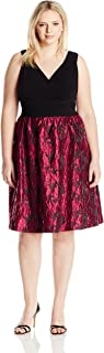 Adrianna Papell Women's Size Portrait Bodice Fit and Flare Plus