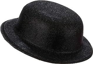 Vegaoo - Sombrero bombín plástico Purpurina Negra Adulto - Única