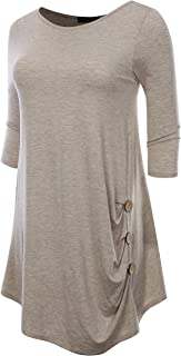 AMORE ALLFY Women's 3/4 Sleeve Round Neck Draped Button Side Tunic Top
