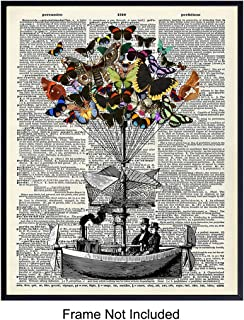 Butterfly Bouquet Flying Machine - Wall Art Print on Dictionary Photo - Ready to Frame (8x10) Vintage Photo - Perfect Gift for Steampunk Fans and Boat Enthusiasts - Great for Office and Home Decor