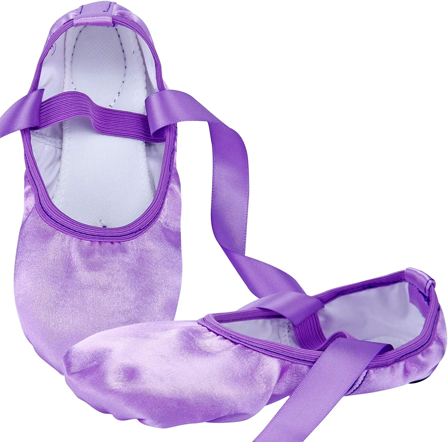 WENDYWU Girls Ballet Dance Shoes Purple Flat Slipper with Ribbon