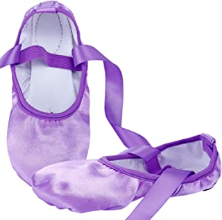 WENDYWU Ballet Dance Shoes Split Sole Flat Ballet Slippers with Ribbons (9C M US Little Kid, Purple)