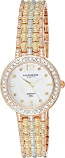 Akribos XXIV Women's Rose/Yellow Gold and Silver Diamond Swiss Quartz Classic Watch - Mother of Pearl Dial - Crystal Studded Bezel - Textured Bracelet - AK757