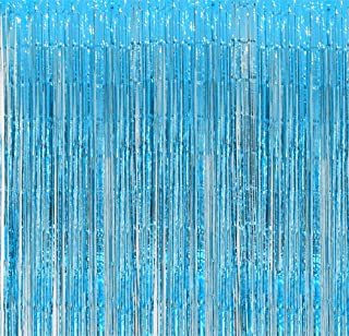 Aquamarine Foil Fringe Backdrop - Pack of 2 | Shiny Metallic Tinsel Foil Curtain | Ideal for Bridal Shower, Wedding, Birthday, Christmas, New Year | Door Windows Wall Decoration