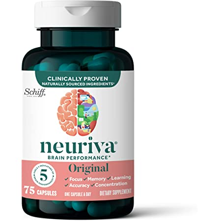 Neuriva Nootropic Brain Support Supplement - Original Capsules (75 Count in a Bottle), Phosphatidylserine, Gluten Free, Decaffeinated, Supports Focus Memory Concentration Learning and Accuracy