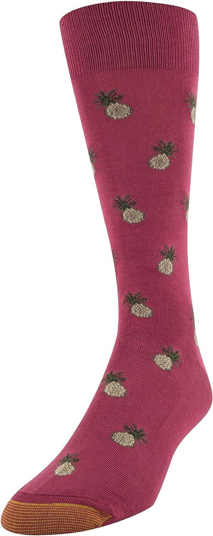 Gold Toe mens Printed Novelty Graphic Fashion Dress Crew Socks, 1 Pair Socks, Pineapple Express, Shoe Size 6-12.5 US