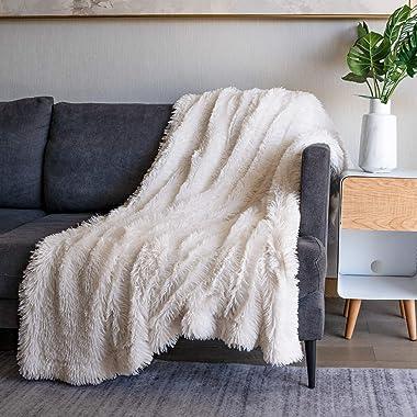 "Soft Fuzzy Faux Fur Throw Blanket ,50""x60"",Reversible Lightweight Fluffy Cozy Plush Fleece Comfy Furry Microfiber Dec"