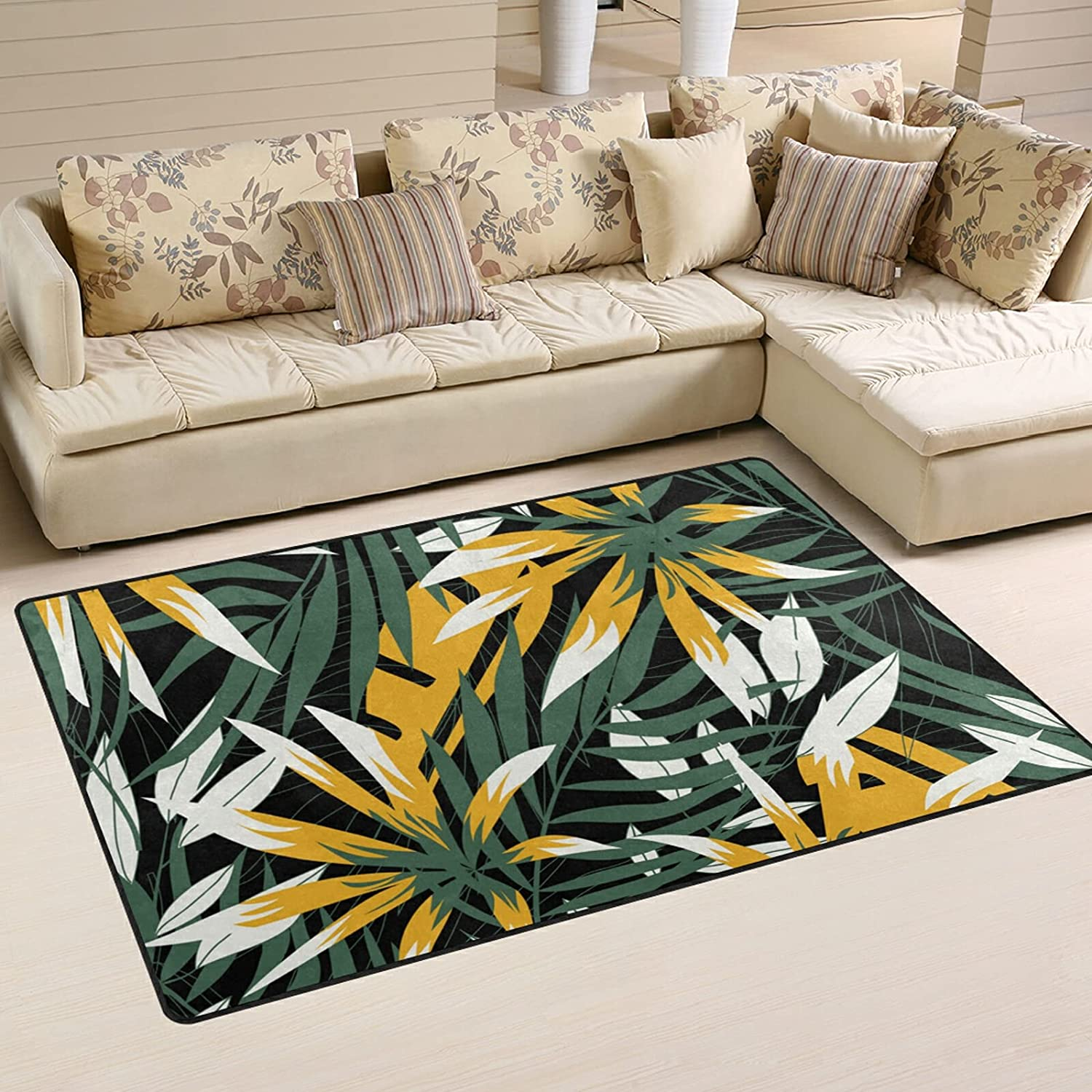 Seattle Mall Abstract Tropical Leaves Max 48% OFF Large Soft Ru Nursery Playmat Area Rugs