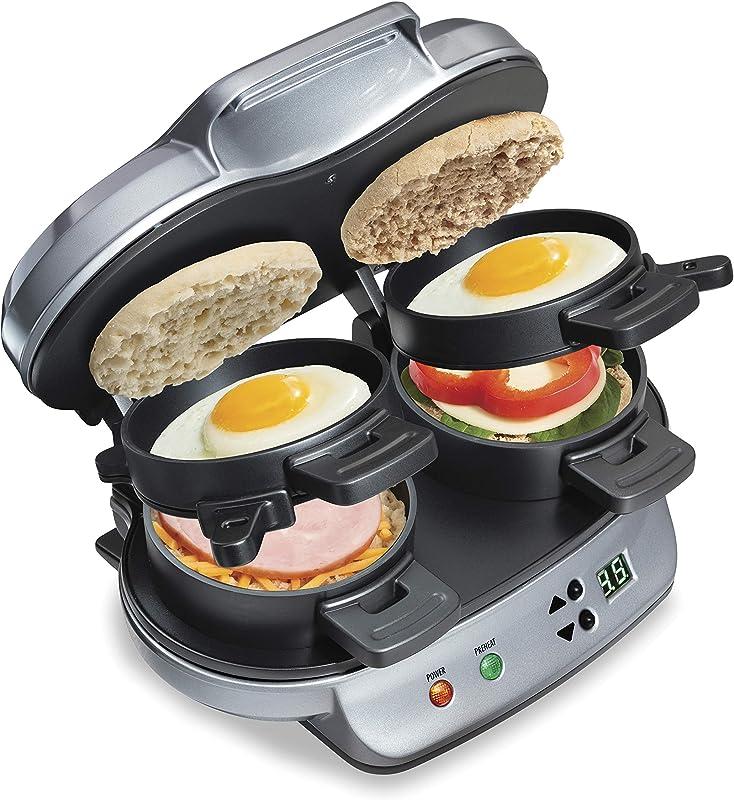 Hamilton Beach Dual Breakfast Sandwich Maker With Timer Silver 25490