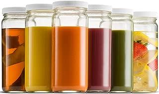 Travel Glass Drinking Bottle Mason Jar 16 Ounce [6-Pack] BPA-Free Plastic Airtight Lids, Reusable Glass Water Bottle for Juicing, Smoothies, Kombucha, Tea, Milk Bottles, Homemade Beverages Bottle,