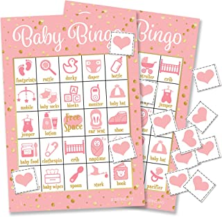 Pink and Gold Girl Baby Shower Bingo Game - 24 Guests