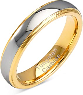 100S مجوهرات 4 مم مخصصة محفورة خواتم تنجستن للرجال النساء الزفاف الفرقة درجتين من الذهب والفضة الخطوبة الحجم 4-13