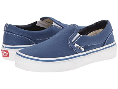 Vans Kids Classic Slip-On (Little Kid/Big Kid) (Navy/True White) Kids Shoes