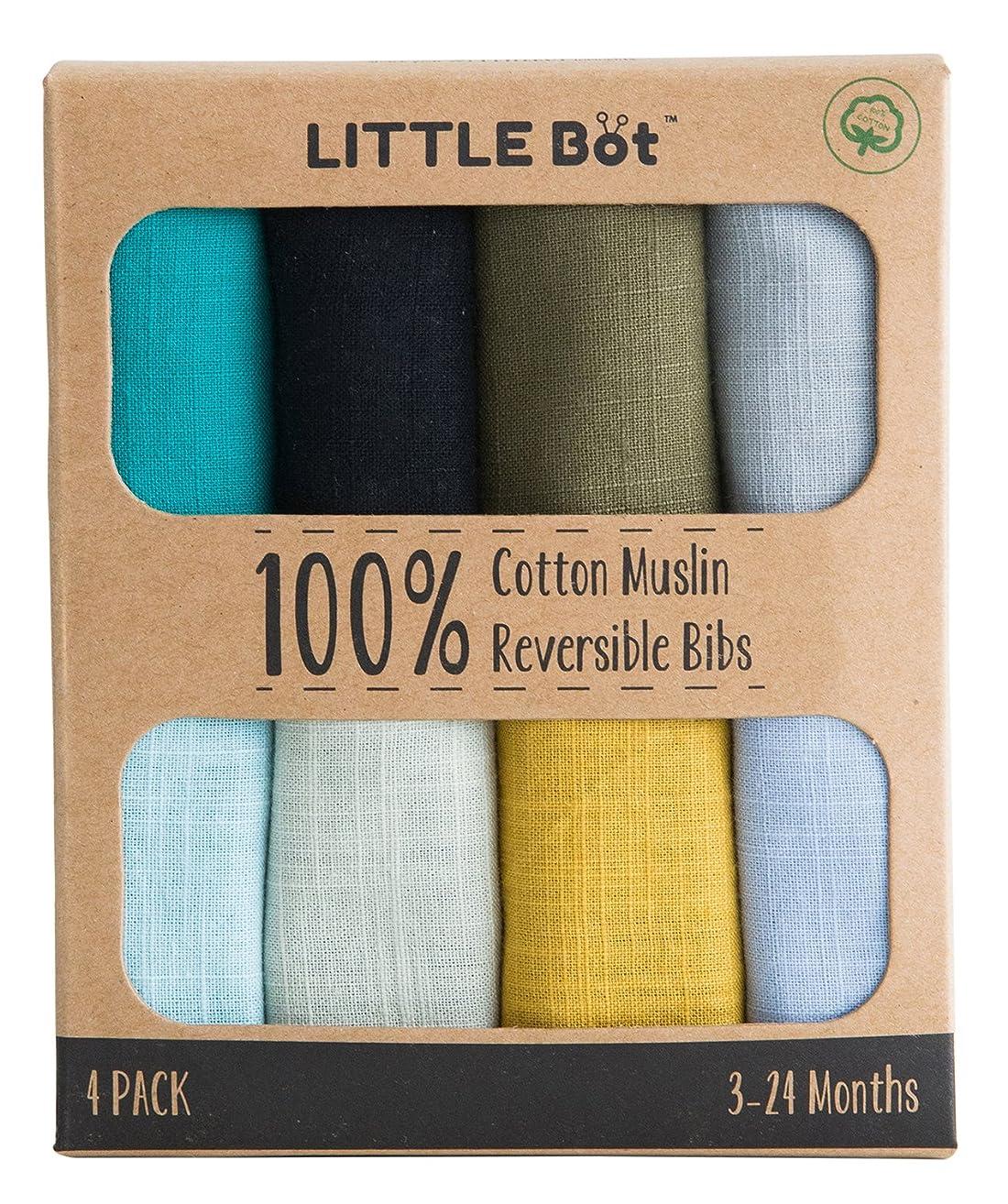 Little Bot Muslin Reversible Bandana Bib. 100% Cotton. 4 Pack