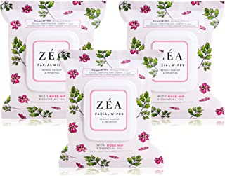 ZEA Makeup Remover Wipes Infused with Rose Hip Essential Oil | New & Improved | Alcohol-Free | Paraben-Free | 30 Wipes Per Package | 3 Packages Total